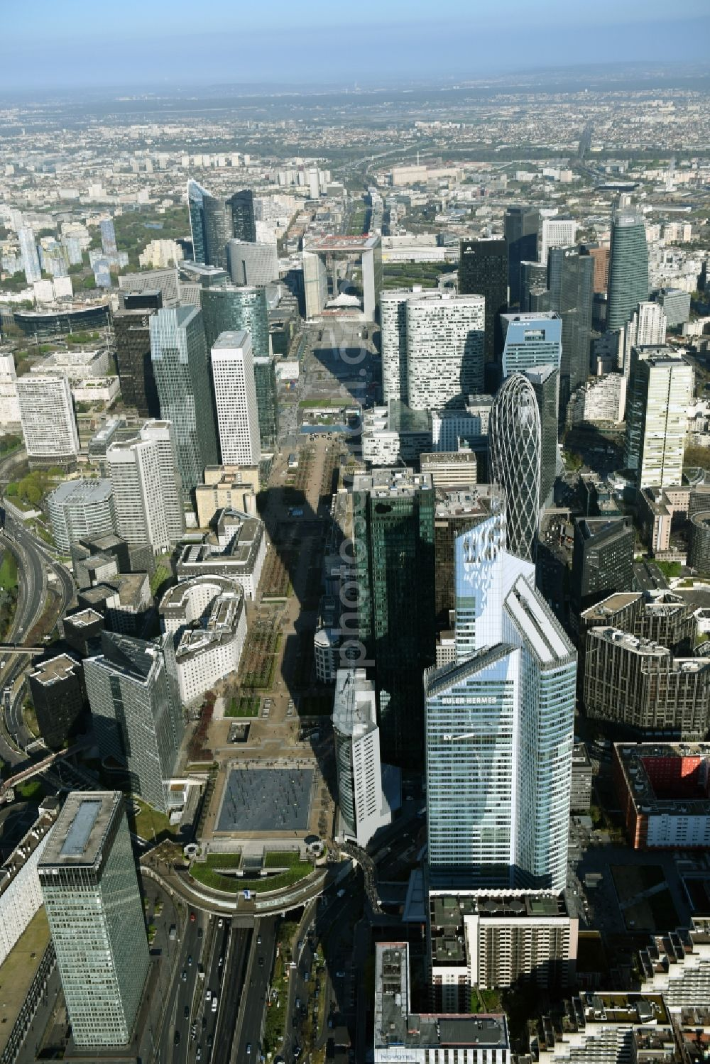 Aerial image Paris - La Defense- City center with the skyline in the downtown area in Paris in Ile-de-France, France