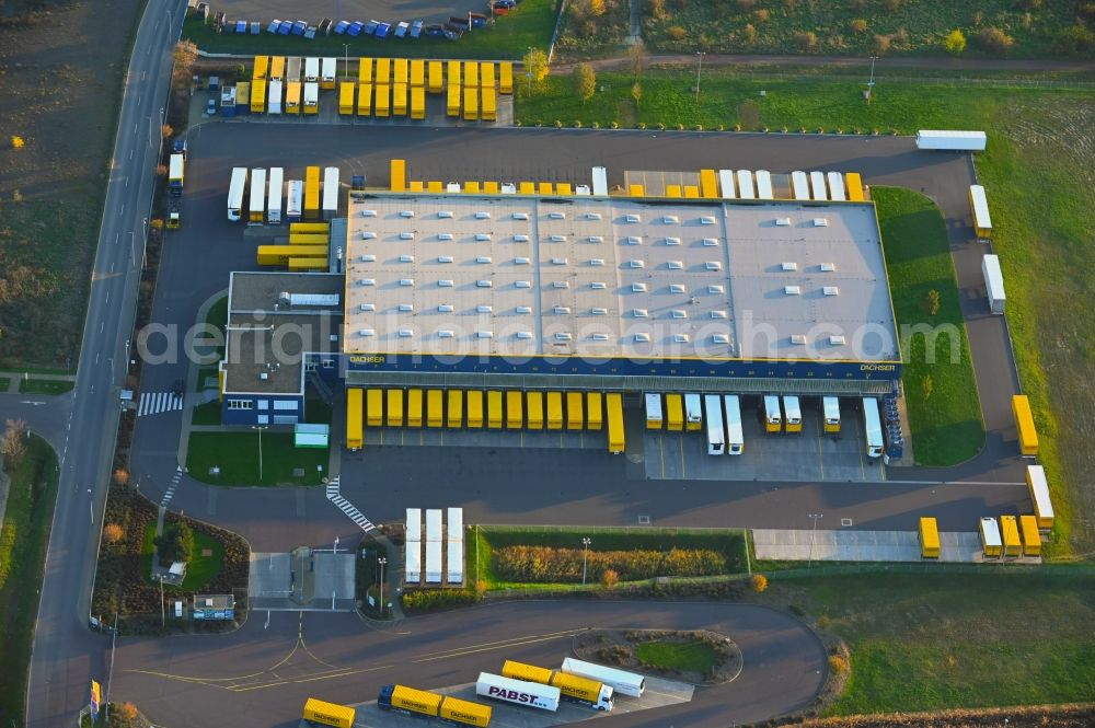 Aerial image Magdeburg - Warehouses and forwarding building of Dachser SE in the district Gewerbegebiet Nord in Magdeburg in the state Saxony-Anhalt, Germany