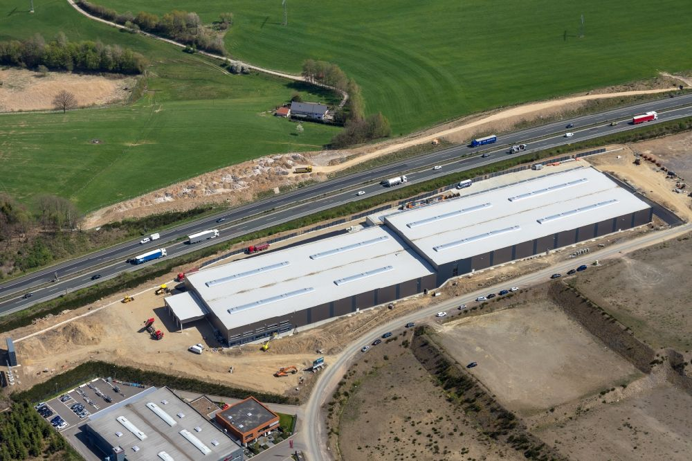 Aerial image Olpe - Construction site for a warehouse and forwarding building on Nicolaus-Otto-Strasse in Olpe in the state North Rhine-Westphalia, Germany