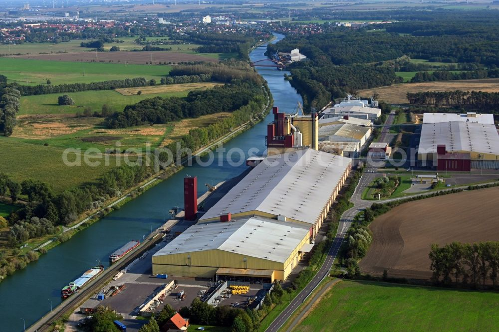 Aerial image Bülstringen - Warehouse complex-building in the industrial area von BARO Lagerhaus GmbH & Co. KG in Buelstringen in the state Saxony-Anhalt, Germany