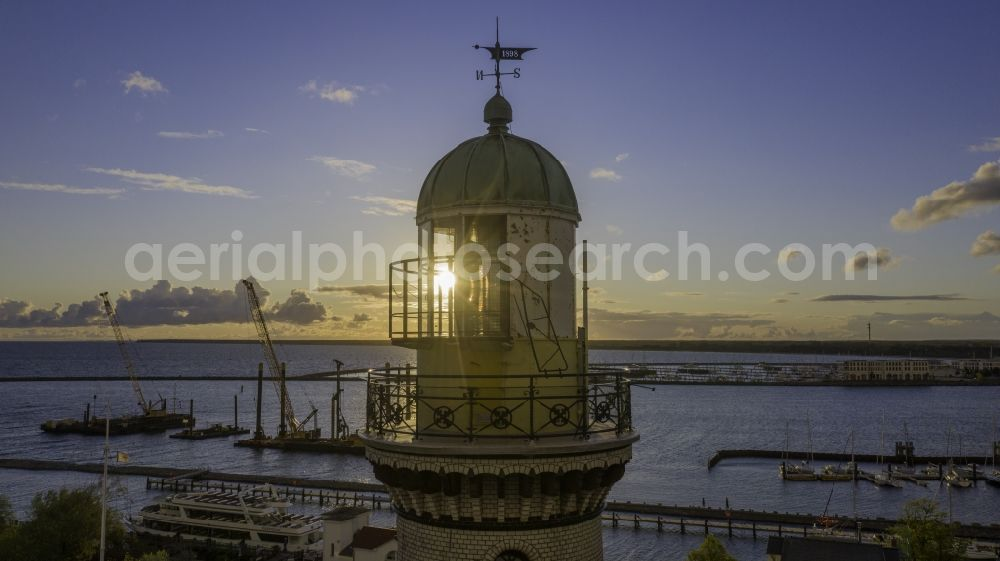 Rostock from above - Lighthouse as a historic seafaring character in the coastal area of Baltic Sea in the district Warnemuende in Rostock in the state Mecklenburg - Western Pomerania, Germany