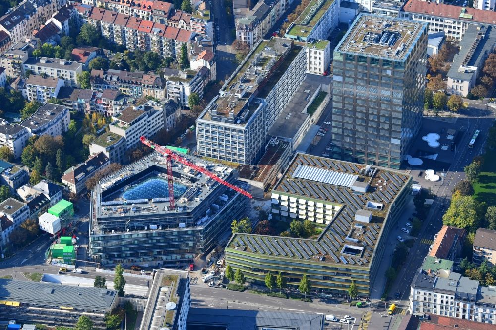 Aerial photograph Basel - Life-Sciences-Campus in the district Schaellemaetteli with high-rise building Biocenter of the university Basle and the new building Departement of Biosystems Science and Engineering D-BSSE of ETH Zuerich in Basle in Switzerland
