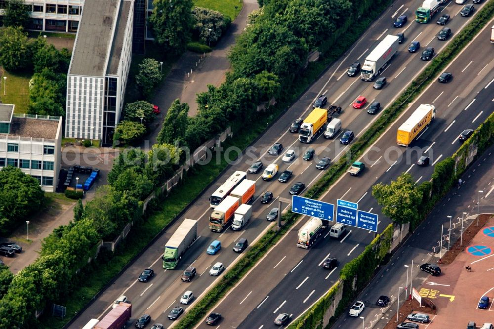 Aerial image Duisburg - Lorries freight by road along the motorway BAB A3 in Duisburg in the state North Rhine-Westphalia, Germany