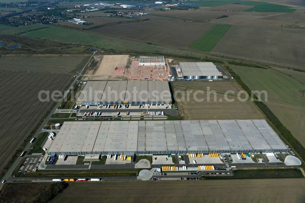 Aerial image Halle (Saale) - New building complex on the site of the logistics center on Wegastrasse in the district Peissen in Halle (Saale) in the state Saxony-Anhalt, Germany