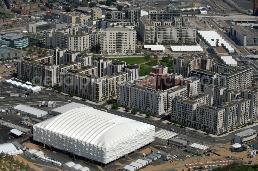 Aerial image London - View over the temporary Basketball Arena onto the Olympic Village located in the Olympic Park in Stratford and one Olympic and Paralympic venues for the 2012 Games in Great Britain