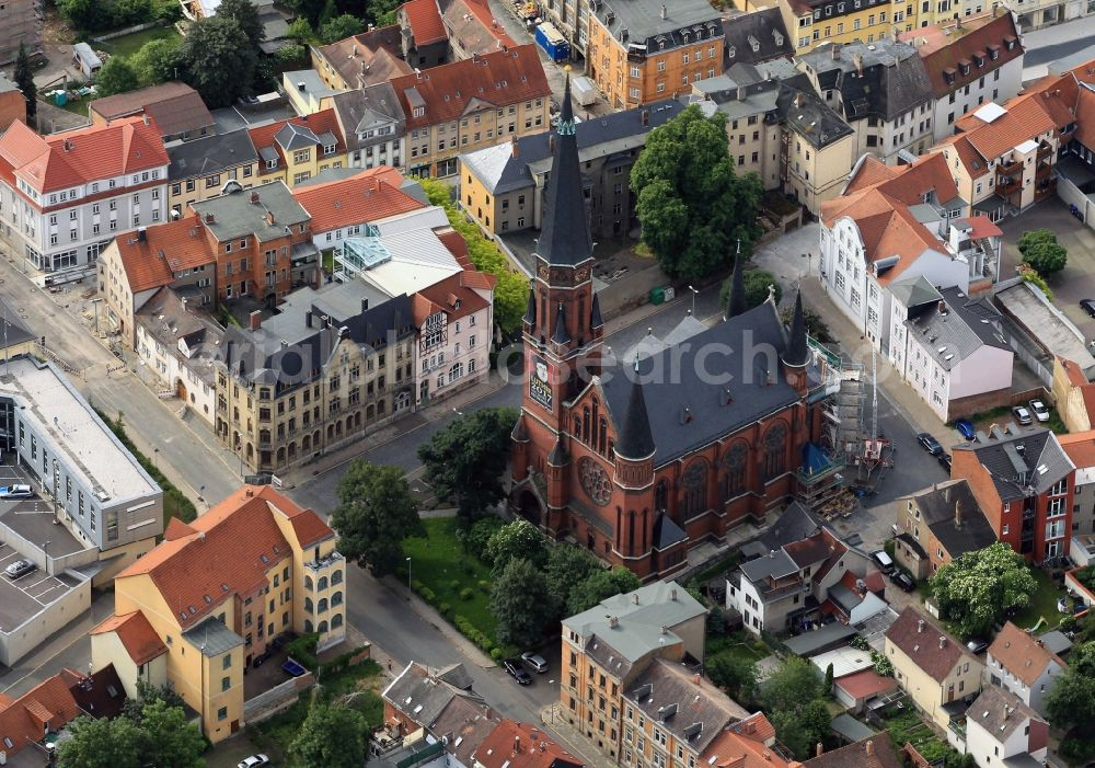 263e314d3 Apolda from above - The Evangelical Lutheran Church is located on the  Melanchtonplatz in Apolda in Thuringia.