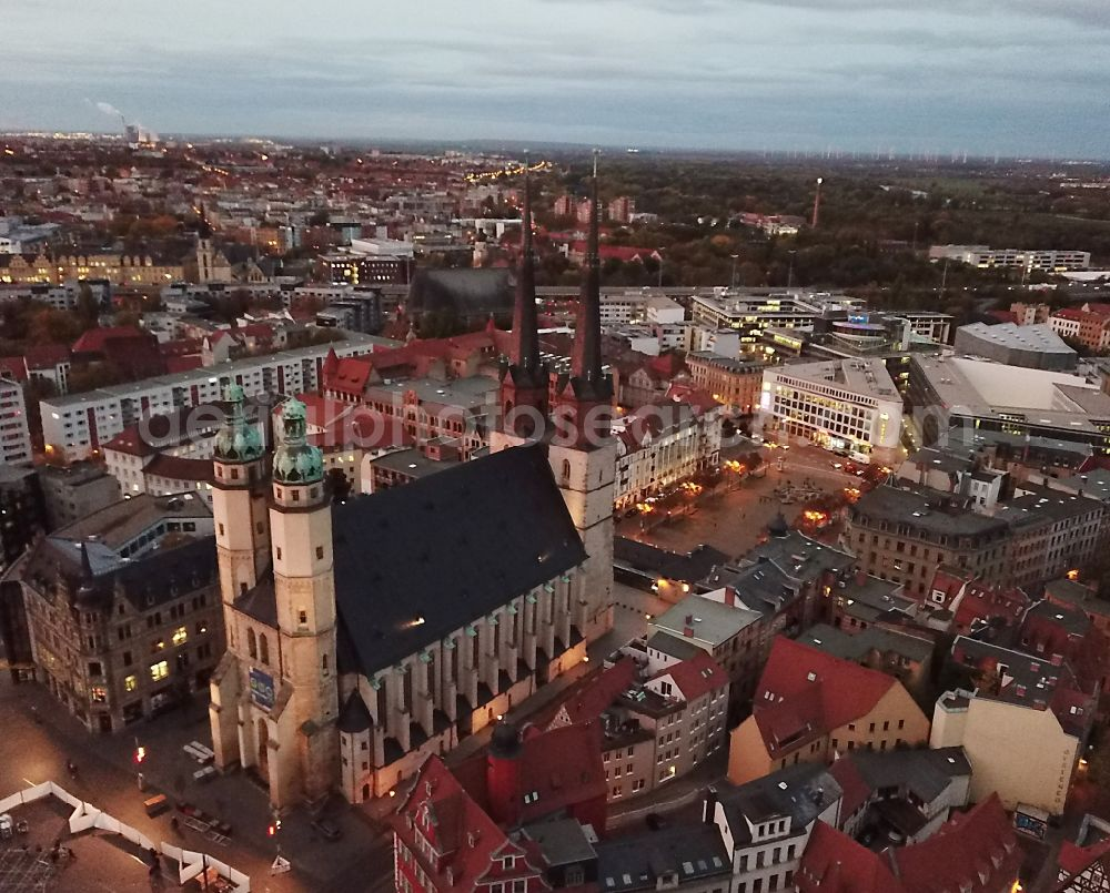Halle (Saale) from above - In the market place on Marktplatz which market church Unser lieben Frauen in Halle (Saale)in the morning dawn in the state Saxony-Anhalt, Germany.