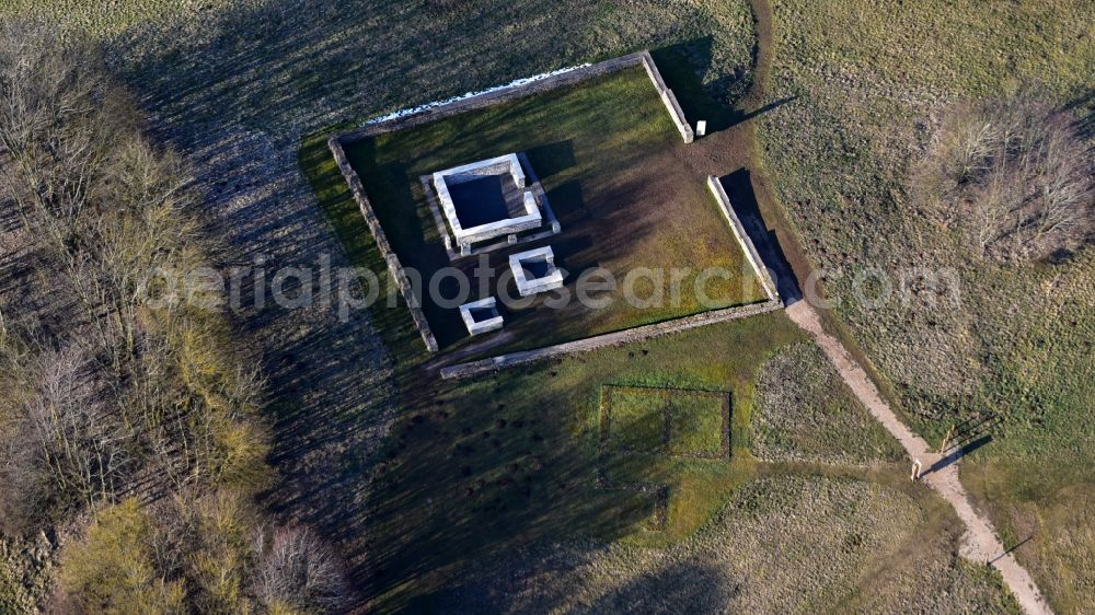 Aerial photograph Nettersheim - Wall remains of Goerresburg in Nettersheim in the state North Rhine-Westphalia, Germany