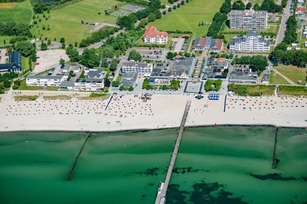 Großenbrode from the bird's eye view: Townscape on the seacoast of Baltic Sea in Grossenbrode in the state Schleswig-Holstein