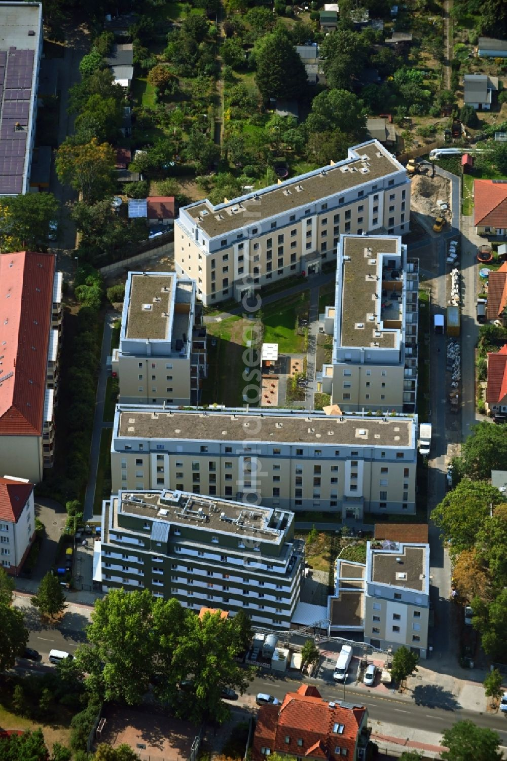 Aerial image Berlin - New multi-family residential complex along the Einbecker Strasse in the district Lichtenberg in Berlin, Germany