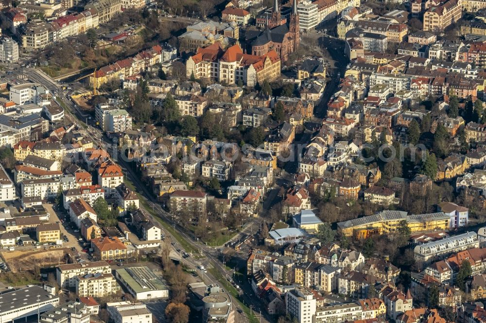 Aerial image Wiehre - Mixing of residential and commercial settlements Goethestrasse - Baslerstrasse in Wiehre in the state Baden-Wurttemberg, Germany