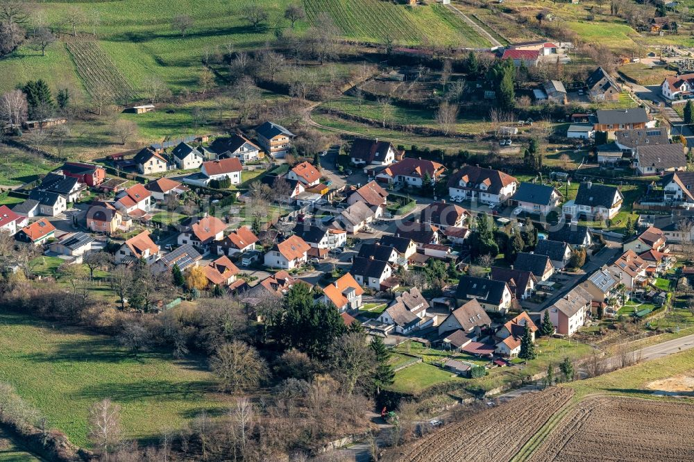 Aerial photograph Wallburg - Residential area site of a mixed development with multi-family houses and single-family houses- New building at the Ortsteil of Stadt Ettenheim in Wallburg in the state Baden-Wurttemberg, Germany