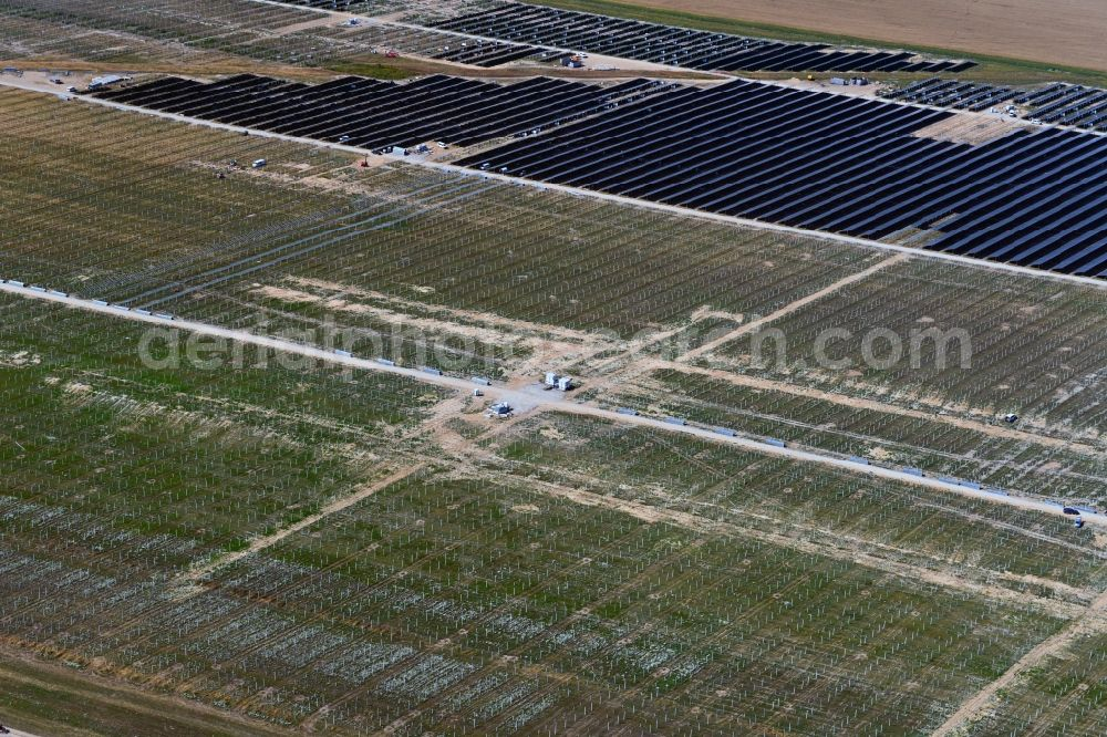 Willmersdorf from above - Construction site and assembly work for solar park and solar power plant in Willmersdorf in the state Brandenburg, Germany