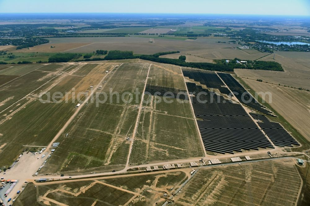 Aerial image Willmersdorf - Construction site and assembly work for solar park and solar power plant Solarpark Weesow-Willmersdorf in Willmersdorf in the state Brandenburg, Germany