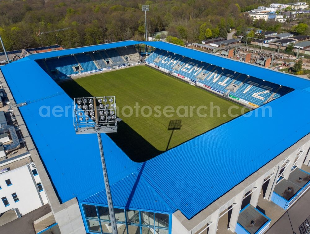 Aerial image Chemnitz - New building of the football stadium community4you ARENA of FC Chemnitz in Saxony
