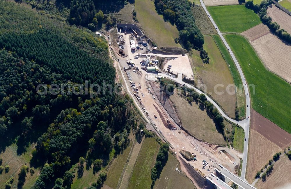 Aerial image Sontra - New construction of the route in the course of the motorway tunnel construction of the BAB A 44 in Sontra in the state Hesse, Germany