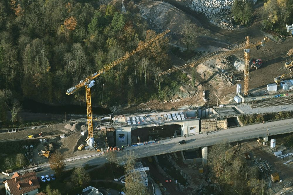 Aerial image Albbruck - New construction of the railway bridge in the district Metteberberg in Albbruck in the state Baden-Wurttemberg, Germany. Further information at: DB Netz AG, Deutsche Bahn AG, Implenia AG, Vogel-Bau GmbH.