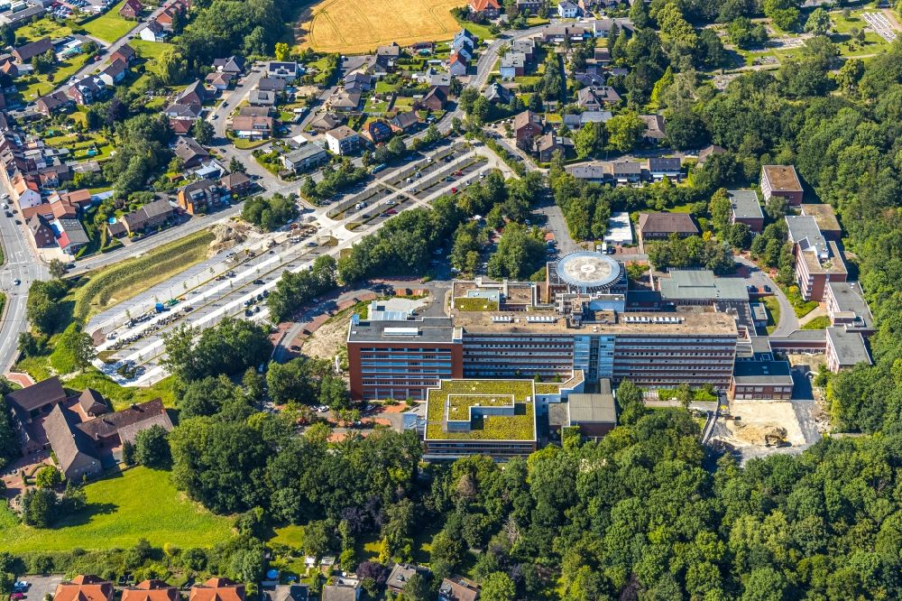 Aerial photograph Hamm - New construction site of the parking lot at the St. Barbara Klinik Hamm-Heessen GmbH Department of Urology in the course of the project wir werden EINS in Hamm in the Federal State of North Rhine-Westphalia, Germany