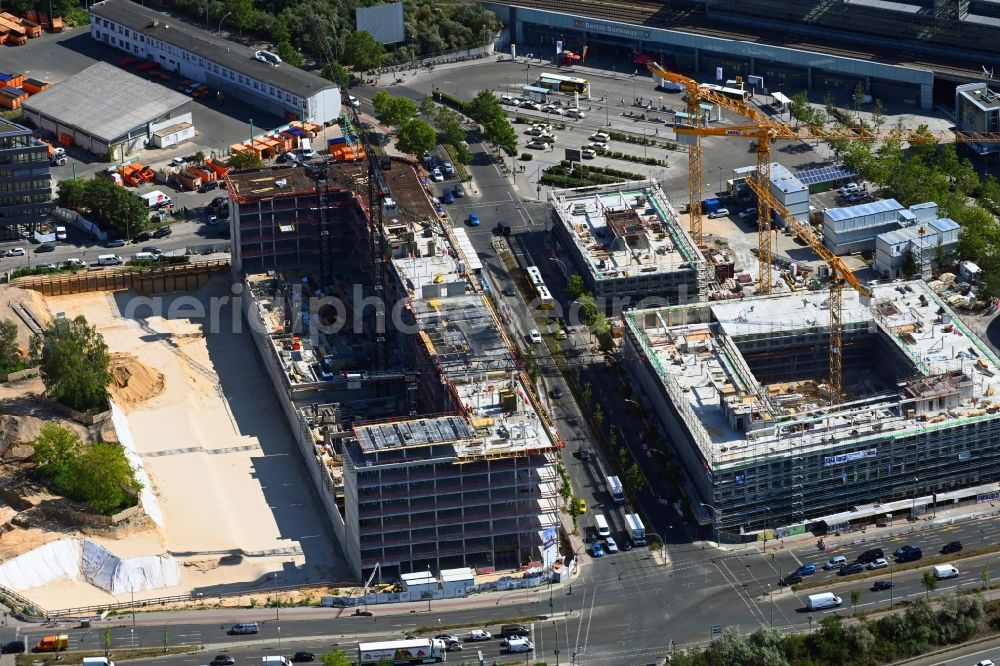 Berlin from above - New construction of an office and commercial building ensemble of the LIP - Ludger Inholte Projektentwicklung in the district of Schoeneberg in Berlin, Germany
