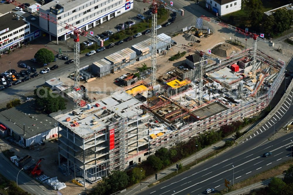 Aerial image Wolfsburg - Construction site to build a new office and commercial building Berliner Haus in the district Hesslingen in Wolfsburg in the state Lower Saxony, Germany