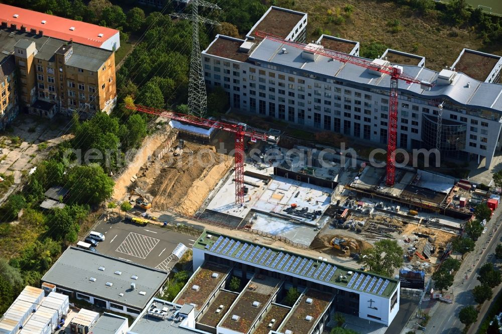 Aerial photograph Berlin - Construction site to build a new office and commercial building on Bornitzstrasse in the district Lichtenberg in Berlin, Germany