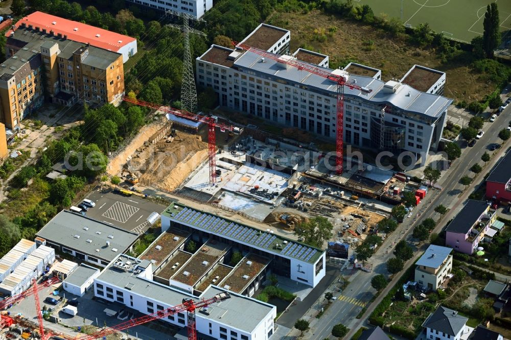 Berlin from above - Construction site to build a new office and commercial building on Bornitzstrasse in the district Lichtenberg in Berlin, Germany