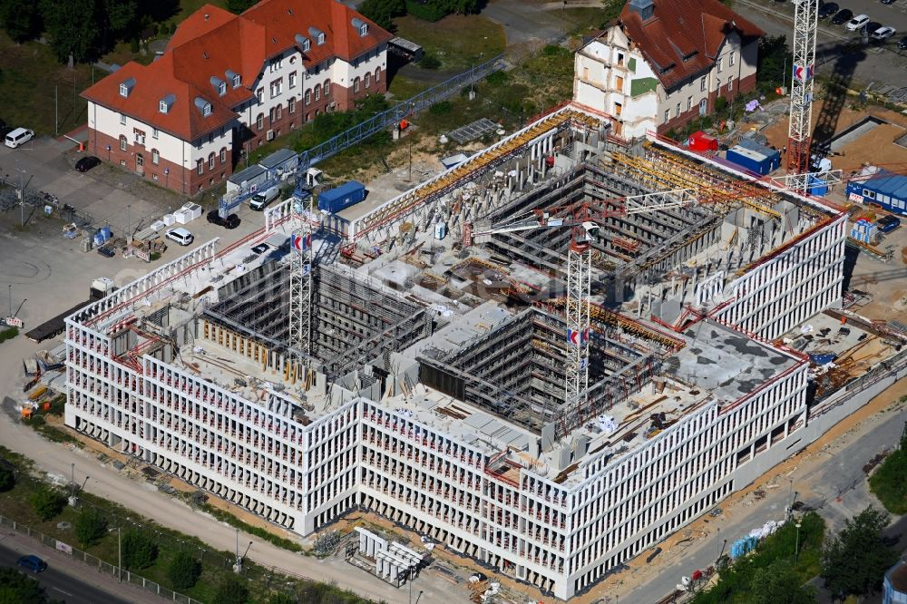 Aerial image Potsdam - New construction of the Federal Police Headquarters on Horstweg in Potsdam in the state of Brandenburg, Germany