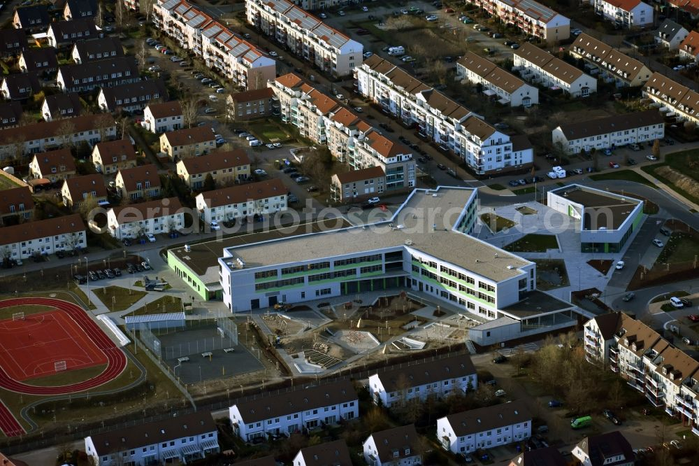 Aerial image Hönow - Construction site for the new building city destrict center between of Schulstrasse and of Marderstrasse in Hoenow in the state Brandenburg, Germany