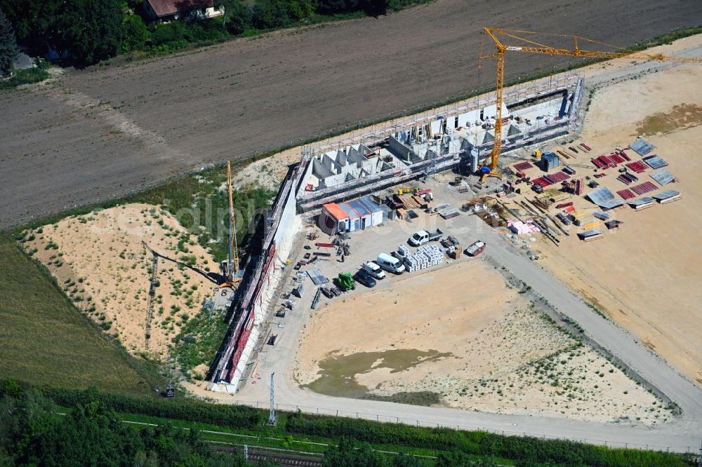 Bergfelde from above - Construction of new Ensemble of sports grounds Sportpark Bergfelde on Fasanenallee in Bergfelde in the state Brandenburg, Germany