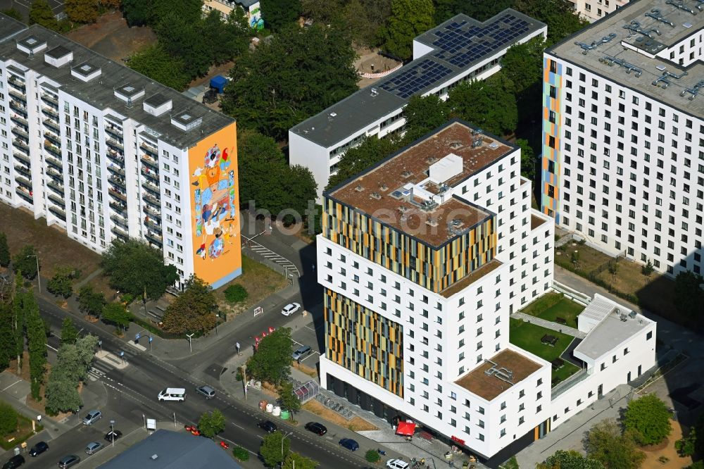 Berlin from above - Student dorm House of Nations on Storkower Strasse corner Alfred-Jung-Strasse in the district Lichtenberg in Berlin, Germany
