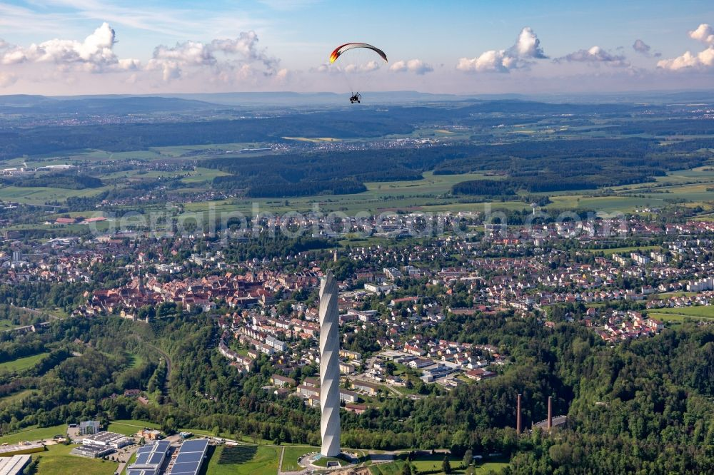 Aerial image Rottweil - Site of the ThyssenKrupp testing tower for Speed elevators in Rottweil in Baden - Wuerttemberg. When finished the new landmark of the town of Rottweil will be the tallest structure in Baden-Wuerttemberg