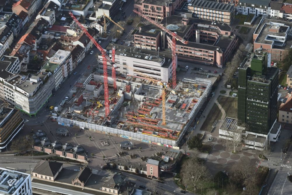 Aerial image Lörrach - New residential and commercial building Quarter Loe on place Bahnhofsplatz - Sarasinweg - Palmstrasse in Loerrach in the state Baden-Wurttemberg, Germany