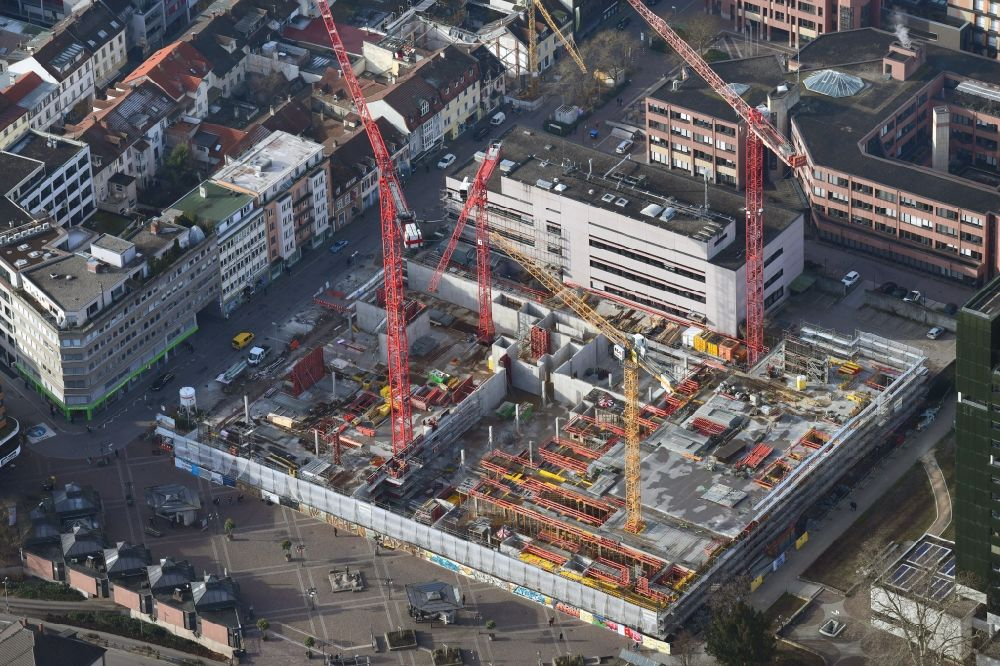 Aerial photograph Lörrach - New residential and commercial building Quarter Loe on place Bahnhofsplatz - Sarasinweg - Palmstrasse in Loerrach in the state Baden-Wurttemberg, Germany