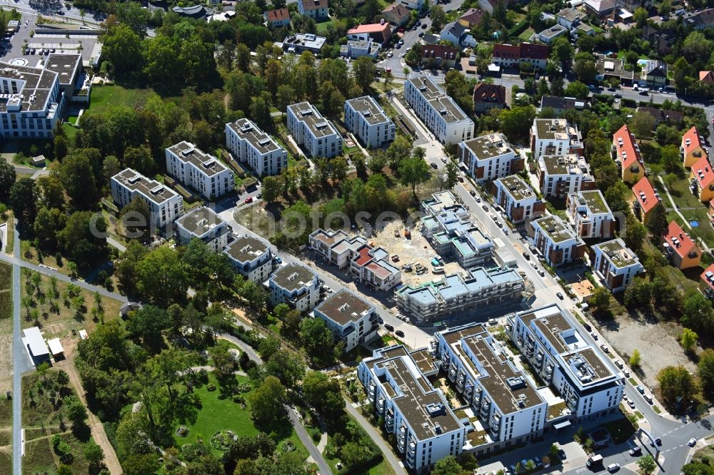 Würzburg from the bird's eye view: Construction site of a new residential area of the terraced housing estate of the project PICK-UP-GARDEN on Dr. -Georg-Fuchs-Strasse - Athanasius-Kircher-Strasse in the district Frauenland in Wuerzburg in the state Bavaria, Germany
