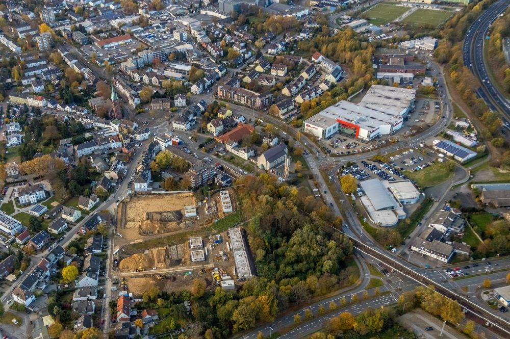Aerial photograph Mülheim an der Ruhr - Construction site of a new residential area of the terraced housing estate on Rudolf-Harbig-Strasse in Muelheim on the Ruhr in the state North Rhine-Westphalia, Germany