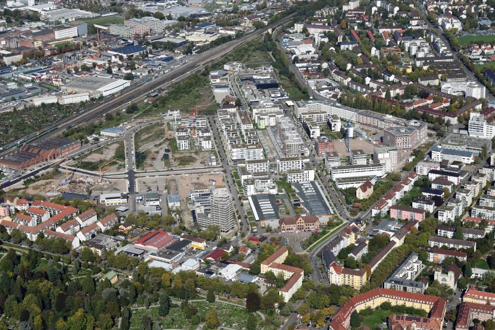 Freiburg im Breisgau from the bird's eye view: District Gueterbahnhof Nord in the city in Freiburg im Breisgau in the state Baden-Wuerttemberg, Germany. Buildings arise on the area of the former Goods Station North