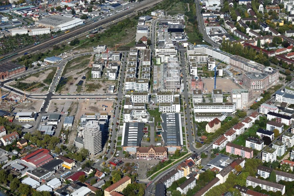 Aerial image Freiburg im Breisgau - District Gueterbahnhof Nord in the city in Freiburg im Breisgau in the state Baden-Wuerttemberg, Germany. Buildings arise on the area of the former Goods Station North
