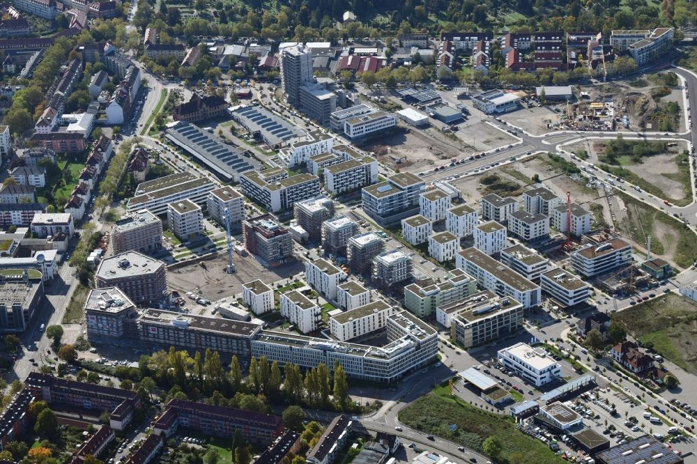 Aerial photograph Freiburg im Breisgau - District Gueterbahnhof Nord in the city in Freiburg im Breisgau in the state Baden-Wuerttemberg, Germany. Buildings arise on the area of the former Goods Station North