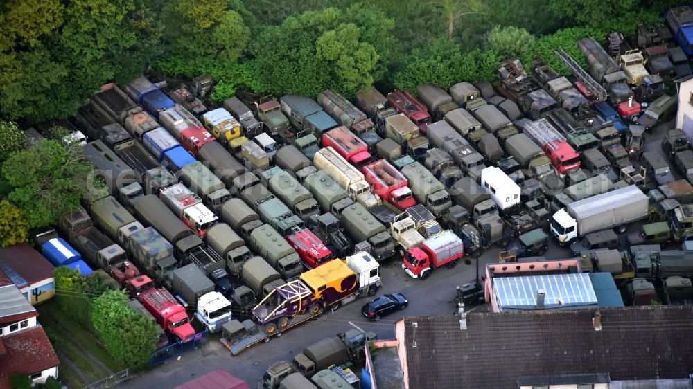 Aerial photograph Hennef (Sieg) - Commercial Vehicle and Special Vehicle trade Philipp aus dem Hanfbachtal in the district Dahlhausen in Hennef (Sieg) in the state North Rhine-Westphalia, Germany