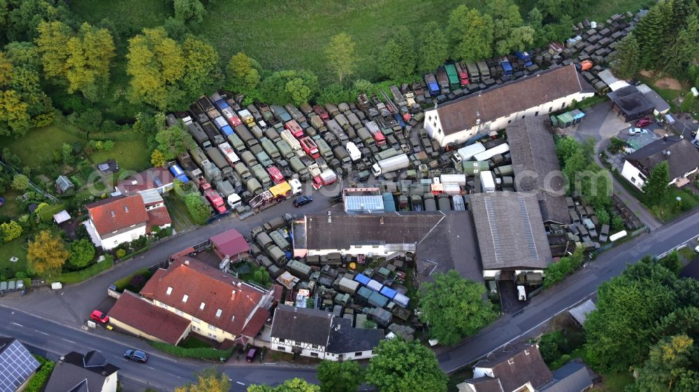 Hennef (Sieg) from above - Commercial Vehicle and Special Vehicle trade Philipp aus dem Hanfbachtal in the district Dahlhausen in Hennef (Sieg) in the state North Rhine-Westphalia, Germany