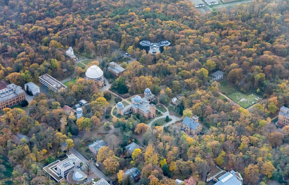 Potsdam from above - Observatory and Planetariumskuppel- constructional building complex of the Institute of Potsdam-Institut fuer Klimafolgenforschung on Telegrafenberg in the district Potsdam Sued in Potsdam in the state Brandenburg