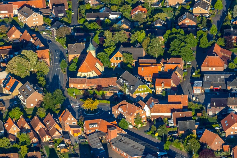 Alverskirchen from above - Town View of the streets and houses of the residential areas in Alverskirchen in the state North Rhine-Westphalia, Germany