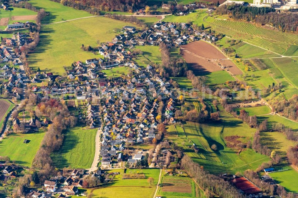 Aerial image Bollschweil - Town View of the streets and houses of the residential areas in Bollschweil in the state Baden-Wurttemberg, Germany