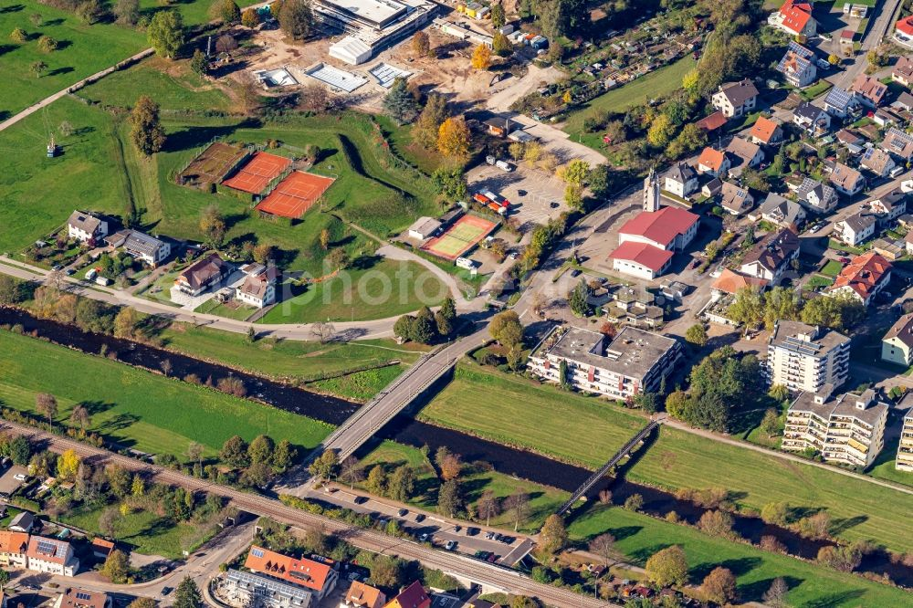 Aerial photograph Hausach - Town View of the streets and houses of the residential areas in Hausach in the state Baden-Wurttemberg, Germany.