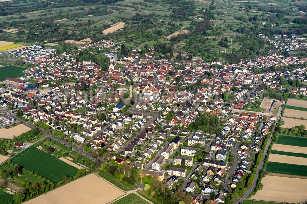 Kippenheim from above - Town View of the streets and houses of the residential areas in Kippenheim in the state Baden-Wuerttemberg