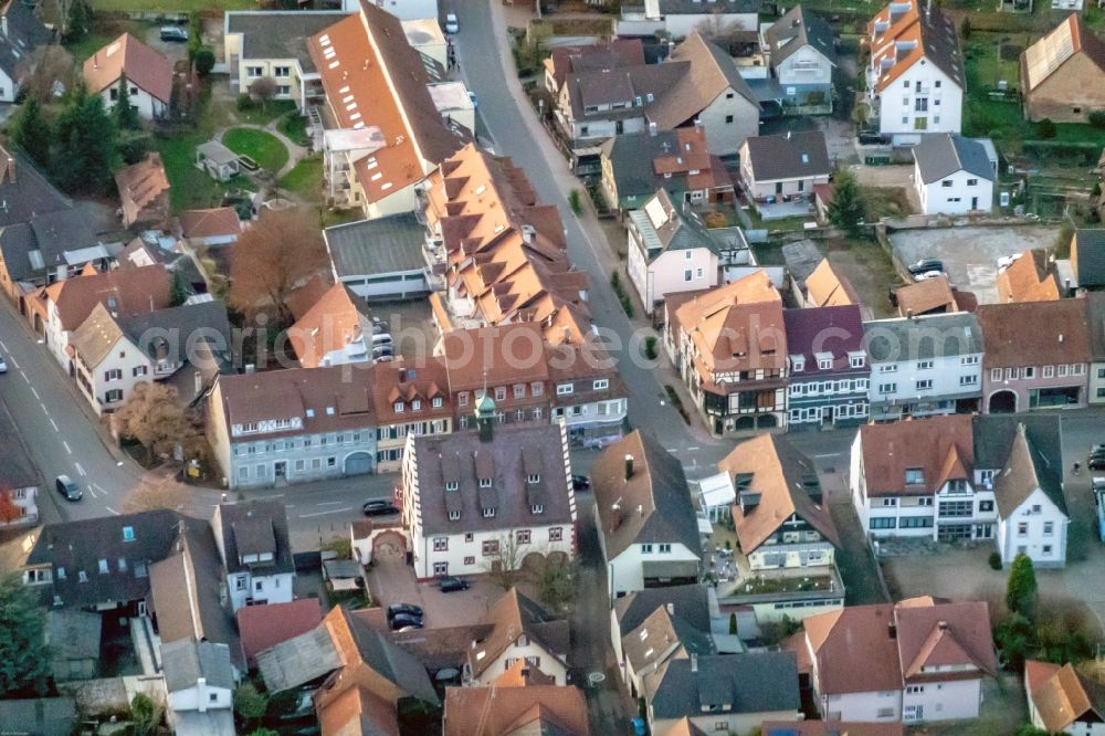 Kippenheim from above - Town View of the streets and houses of the residential areas in Kippenheim in the state Baden-Wurttemberg, Germany