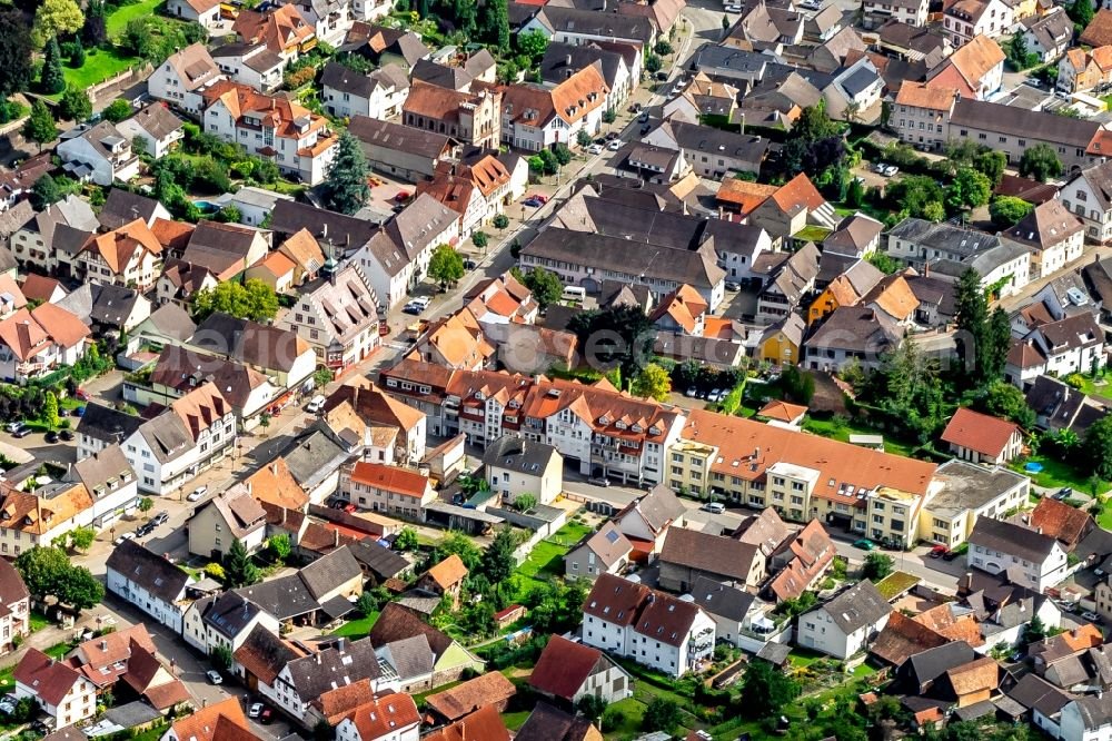 Aerial image Kippenheim - Town View of the streets and houses of the residential areas in Kippenheim in the state Baden-Wurttemberg, Germany