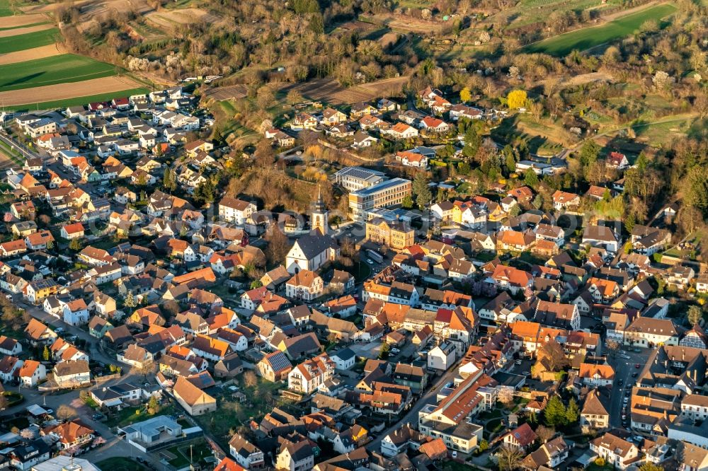 Aerial photograph Kippenheim - Town View of the streets and houses of the residential areas in Kippenheim in the state Baden-Wurttemberg, Germany