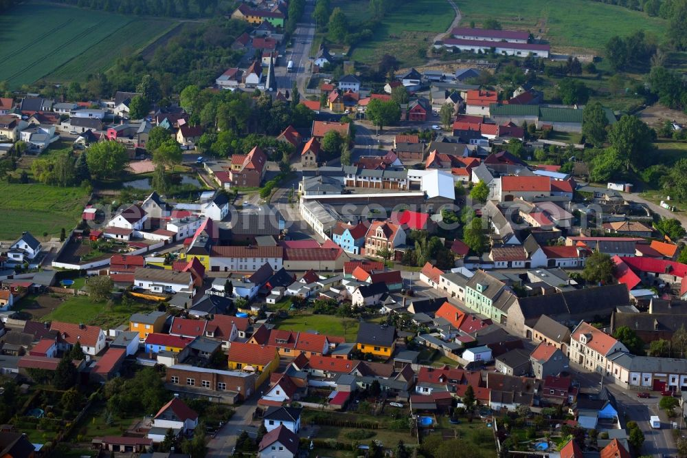 Peißen from above - Town View of the streets and houses of the residential areas in Peissen in the state Saxony-Anhalt, Germany