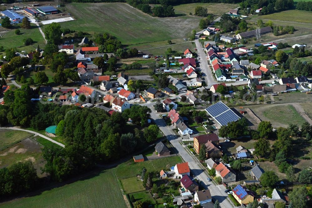 Aerial photograph Rehagen - Village view on the edge of agricultural fields and land in Rehagen in the state Brandenburg, Germany